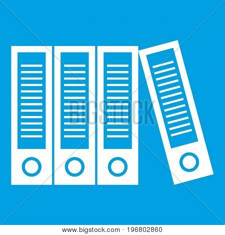 Office folders icon white isolated on blue background vector illustration