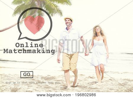 Online Matchmaking Dating Sign Up Concept