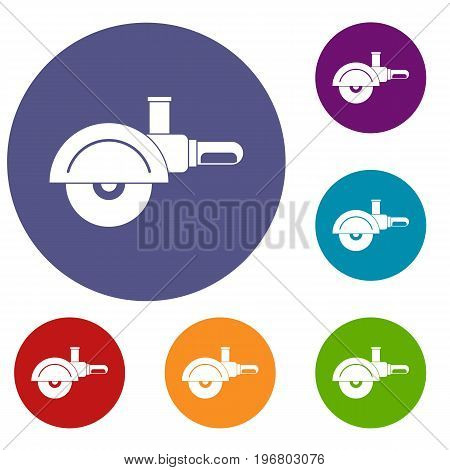 High speed cut off machine icons set in flat circle red, blue and green color for web