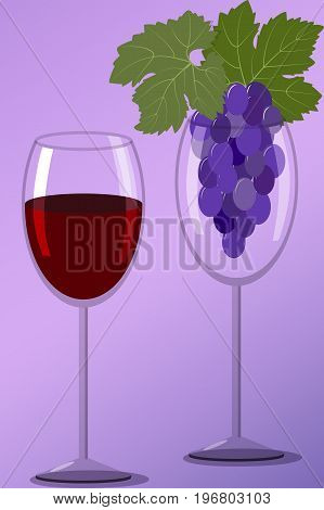 Two wineglass with a bunch of black grapes and red wine on a lilac background, vector illustration