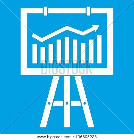Flipchart with marketing data icon white isolated on blue background vector illustration