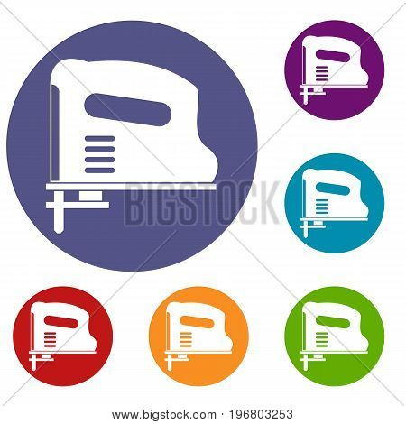 Pneumatic gun icons set in flat circle red, blue and green color for web