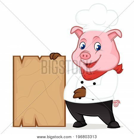 Chef Pig Cartoon Mascot Holding Wooden Plank