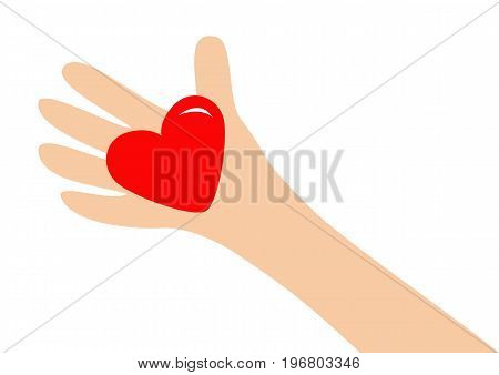 Big hand arm holding red shining heart shape sign. Close up body part. Happy Valentines day. Greeting card. Flat design style. Love soul gift concept Isolated. White background. Vector illustration
