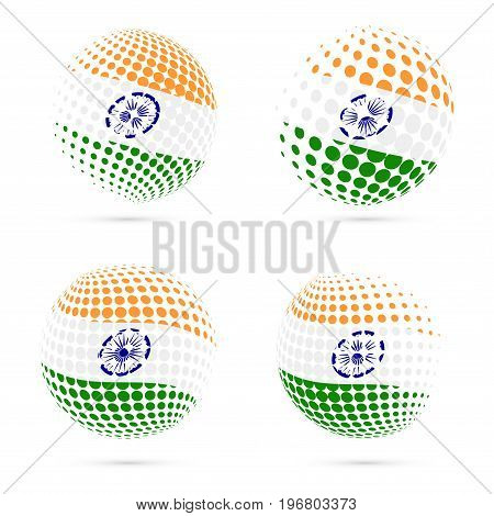 India Halftone Flag Set Patriotic Vector Design. 3D Halftone Sphere In India National Flag Colors Is