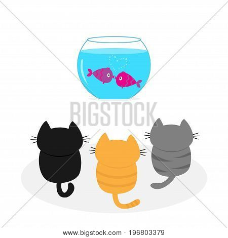 Three kittens looking to aquarium with fish set. Little cat family. Pet animal collection. Cute cartoon funny character. Flat design. White background Isolated Vector illustration
