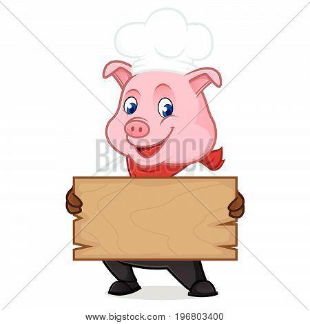 Chef Pig Cartoon Mascot Holding Wooden Plank