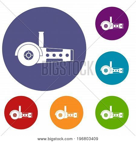 Circular saw icons set in flat circle red, blue and green color for web