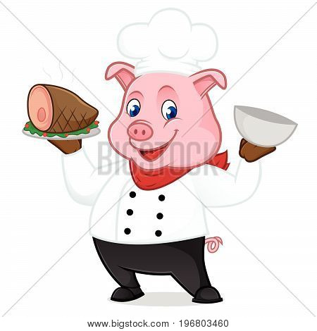 Chef Pig Cartoon Mascot Serving Pork On Tray