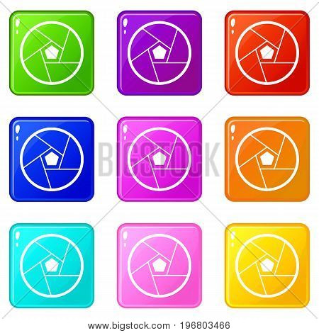 Photographic lens icons of 9 color set isolated vector illustration