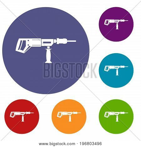 Electric drill, perforator icons set in flat circle red, blue and green color for web