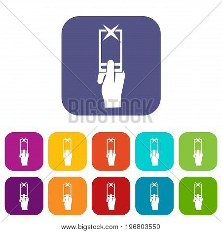 Hand photographs on smartphone icons set vector illustration in flat style in colors red, blue, green, and other