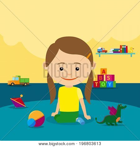 The girl sits on the floor surrounded by toys in the kindergarten. Vector illustration