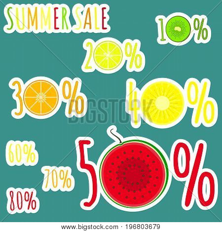 Bright colorful summer sale stickers with fruits zero circles. Cute sticker emblems with kiwi lemon orange pineapple and watermelon circles for online and offline shop sale design banners covers