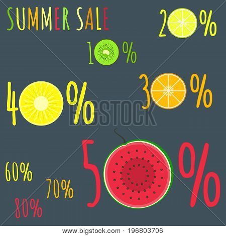 Colorful summer sale badges with fresh fruits zero circles. Cute sticker emblems with kiwi lemon orange pineapple and watermelon circles for online and offline shop sale design banners covers