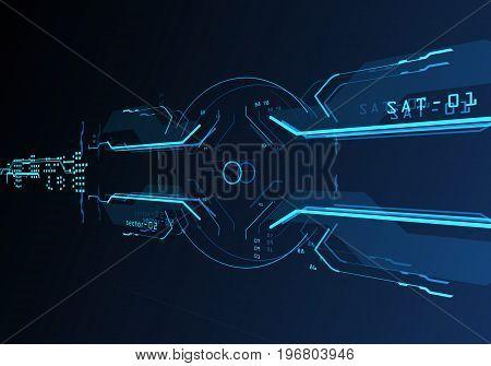 Futuristic user interface. Element user interface. Blue elements. 3d projection. 3d hologram. 3d rendering. 3d illustration