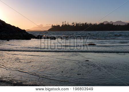 Sunset at Mackenzie Beach, Tofino on Vancouver Island, British Columbia