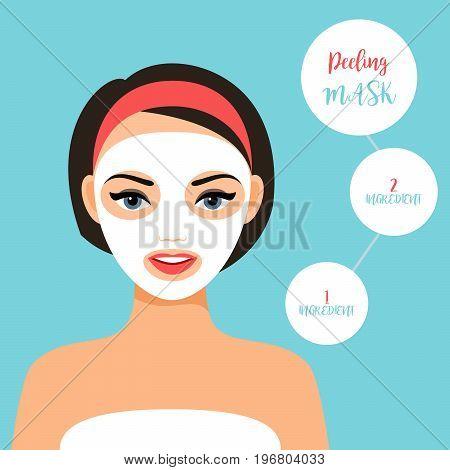 Peeling mask for treating skin. Girl face with mask, vector illustration