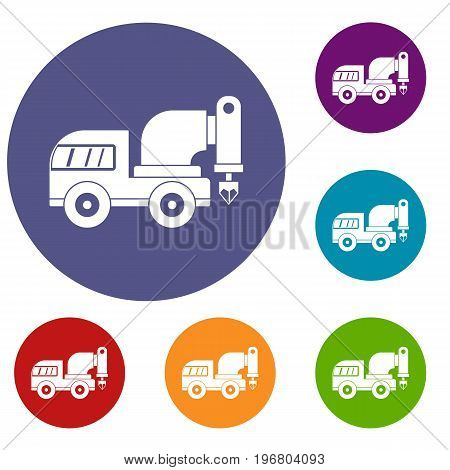 Drilling machine icons set in flat circle red, blue and green color for web