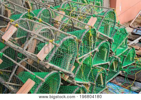 Traps for catching crab and lobster in the fisher village in Thailand Khlong Yai