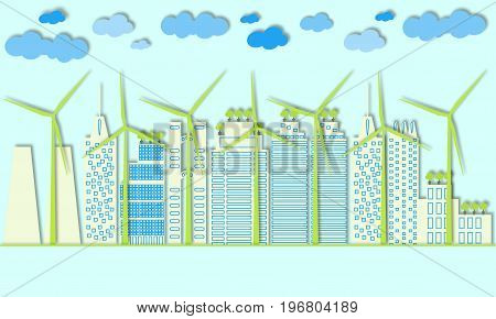 Green city eco concept. Eco town. Wind generators and alternative energy for large cities. Paper art style. 3d vector collage. Design for wallpaper, background, prints, banners, brochures.
