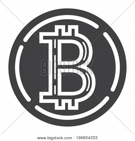 Bitcoin coin glyph icon, business and finance, virtual money sign vector graphics, a solid pattern on a white background, eps 10.