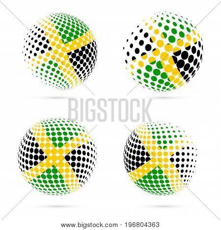 Jamaica Halftone Flag Set Patriotic Vector Design. 3D Halftone Sphere In Jamaica National Flag Color