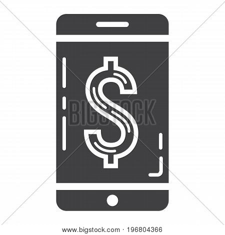 Mobile banking glyph icon, business and finance, phone sign vector graphics, a solid pattern on a white background, eps 10.