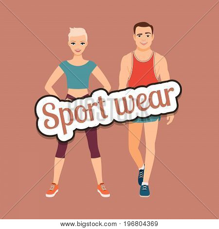 Fitness fashion couple in sport wear style clothing vector concept