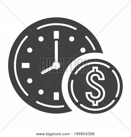 Time Is Money glyph icon, business and finance, coin sign vector graphics, a solid pattern on a white background, eps 10.