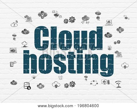 Cloud computing concept: Painted blue text Cloud Hosting on White Brick wall background with  Hand Drawn Cloud Technology Icons