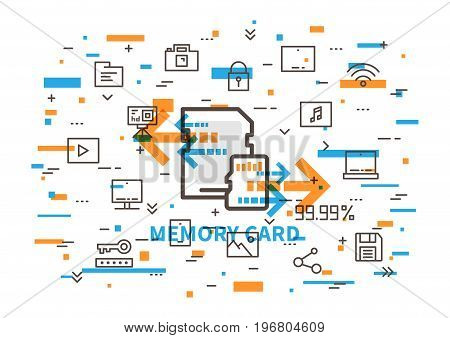 Memory card vector illustration with colorful elements. Sd and micro sd cards with elements: photocamera action camera desktop laptop smartphone tablet cloud storage save pictogram line art.