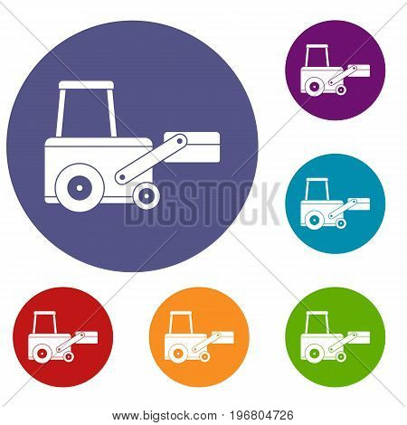 Truck to lift cargo icons set in flat circle red, blue and green color for web