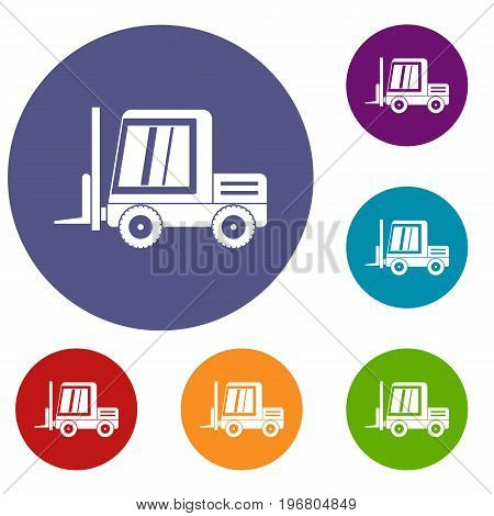 Stacker loader icons set in flat circle red, blue and green color for web