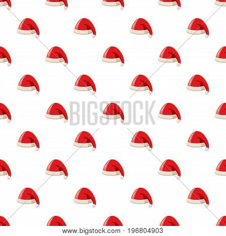 Christmas red hat with pompom of Santa Claus pattern seamless repeat in cartoon style vector illustration