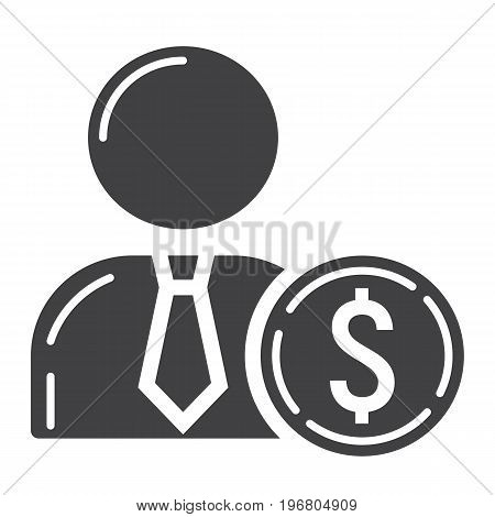 Investor glyph icon, business and finance, businessman sign vector graphics, a solid pattern on a white background, eps 10.