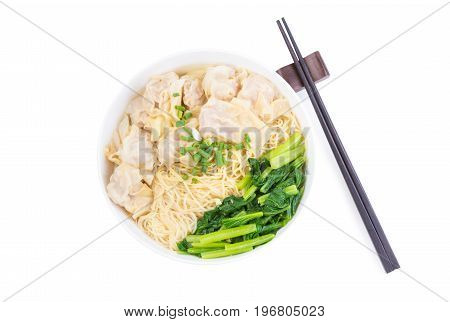 Wonton and egg noodle soup of Chinese Cantonese style for asian cuisine serving with Chinese cabbage (bog choy) and topped isolated on white background with chopstick flat lay (top view)
