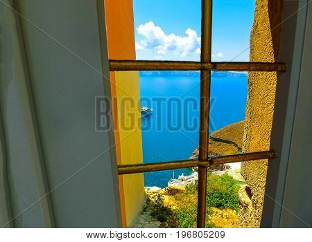 View to the sea from doors in Fira the most beautiful village of Santorini island in Greece