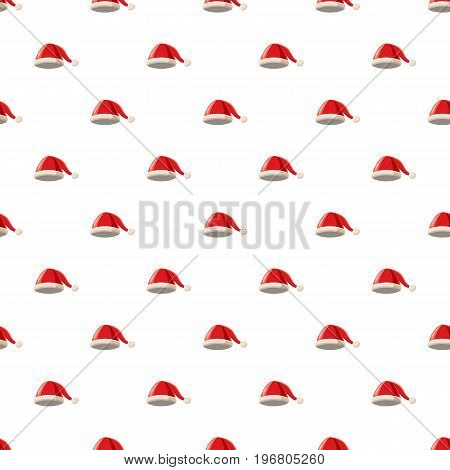Christmas hat with pompom pattern seamless repeat in cartoon style vector illustration