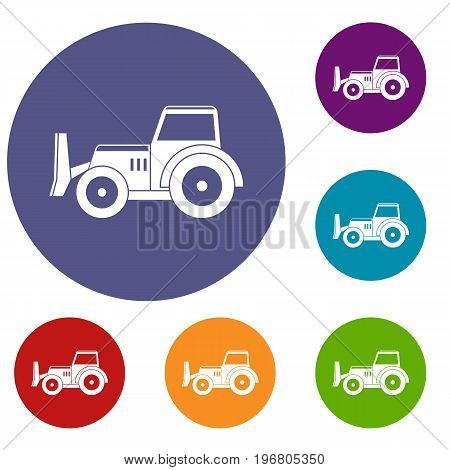 Skid steer loader bulldozer icons set in flat circle red, blue and green color for web