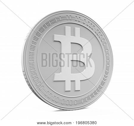 Silver Bitcoin isolated on white background. 3D render