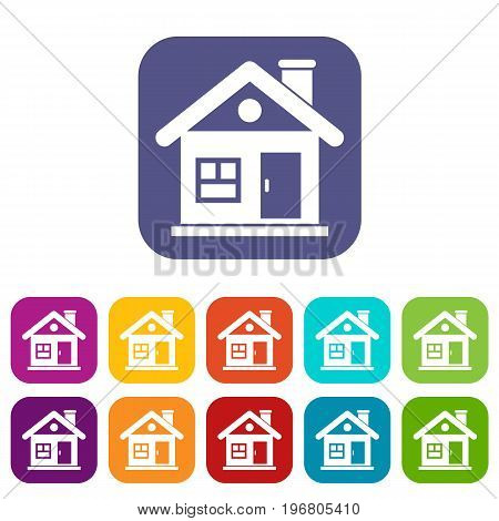 House icons set vector illustration in flat style in colors red, blue, green, and other