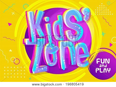 Kids Zone Vector Banner in Cartoon Style. Bright and Colorful Illustration for Children's Playroom Decoration. Funny Sign for Kids Game Room. Yellow Background with Childish Pattern.