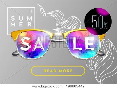 Minimal Fashion Vector Design. Stylish Summer Sale Poster. Gold Sunglasses on Grey Background with Doodle Pattern. Bright Reflections with Palm. Creative Pop Art Style. Glamour Art. Top View.