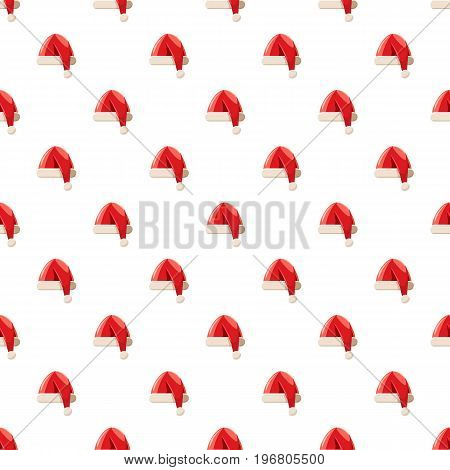 New year hat with pompom pattern seamless repeat in cartoon style vector illustration