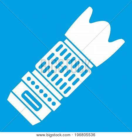 Interchangeable lens for camera icon white isolated on blue background vector illustration