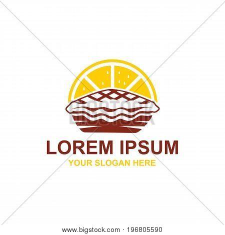 lemon pie logo design, isolated on white background.