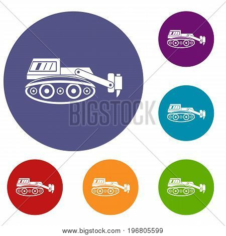 Excavator with hydraulic hammer icons set in flat circle red, blue and green color for web