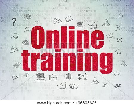 Learning concept: Painted red text Online Training on Digital Data Paper background with  Hand Drawn Education Icons