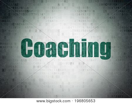 Education concept: Painted green word Coaching on Digital Data Paper background